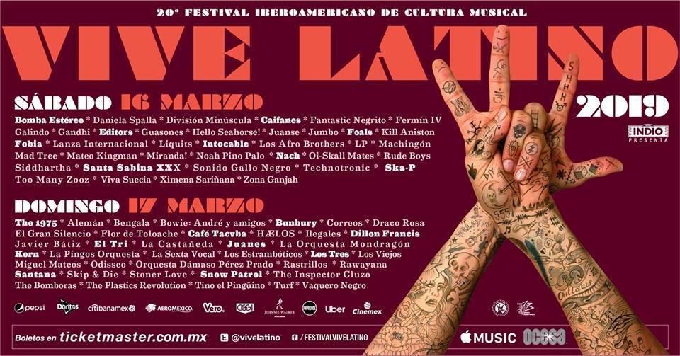 Listos los horarios para el Vive Latino 2019